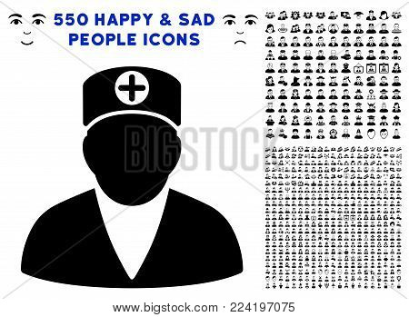 Medic Person pictograph with 550 bonus pitiful and happy jobs pictographs. Vector illustration style is flat black iconic symbols.