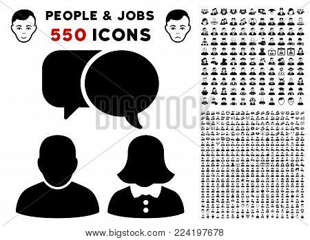 People Chat pictograph with 550 bonus pitiful and glad people pictographs. Vector illustration style is flat black iconic symbols.