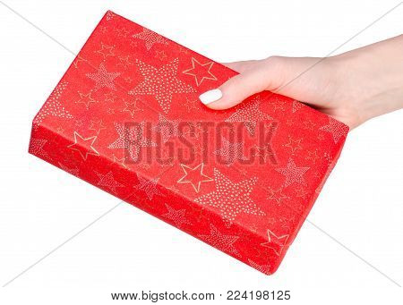 Gift box in hand on white background isolation