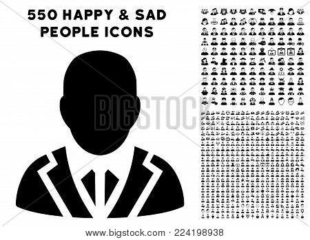 Valet pictograph with 550 bonus pitiful and glad men symbols. Vector illustration style is flat black iconic symbols.