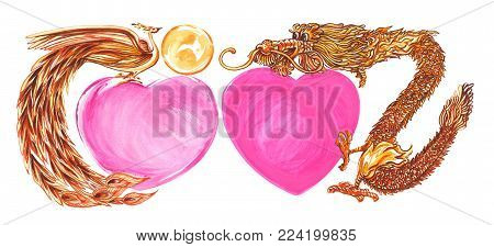 Swan and Dragon with heart shape mary celebration concept and greeting card painting water color design of the Chinese symbolisolate has clipping paths.