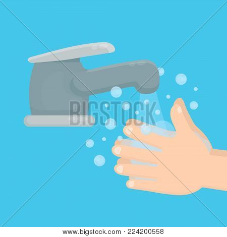 Pair of hands washing using soap and bubbles.Handwashing. Clean arm in foam bubbles. Vector flat cartoon illustration icon design. Personal hygiene,disinfection,skin care concept