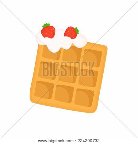 Viennese waffle with whipped cream and strawberries. Vector flat cartoon illustration icon design. Isolated on white background.Fast food waffle dessert concept