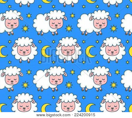 Cute smilng funny sleeping sweet dreams sheep seamless pattern. Vector flat line cartoon character illustration icon design. Sheep pattern concept