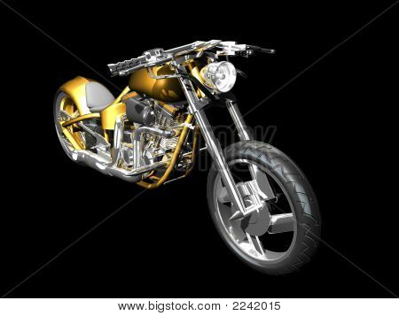 3D Motorcycle Front Side View