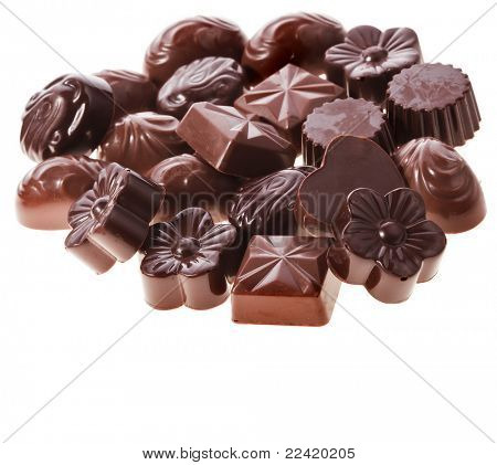 Assorted chocolate  candies  Isolated on white