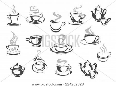 Coffee and tea cups icons for cafe or cafeteria menu. Vector set of hot strong espresso, green or black tea mug and pot or kettle. Latte macchiato or chocolate frappe for coffeehouse or teahouse sign