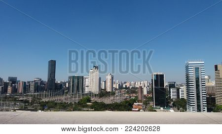 Sao Paulo skyline at the Marginal Pinheiros area, showing the new business districts of the city.