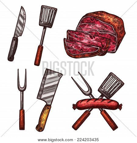 Meat grill sausages, steake and barbecue cutlery or butchery cooking or meat carving kitchen tools. Vector sketch isolated icons of bbq pork bacon or beefsteak burger cutlet, knife or spatula fork