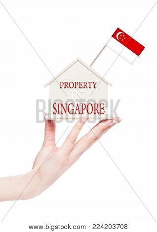Female hand holding wooden house model with Singapore flag on top. Property in Singapore text