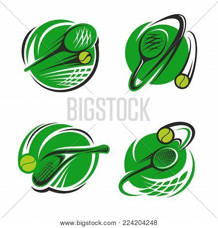 Tennis sport club icons or championship game badge templates for fan club or sport team. Vector isolated labels set of tennis racket and flying ball over green goal net