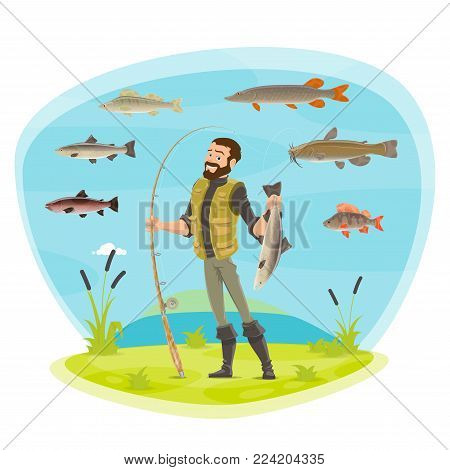 Fisherman or fisher man fishing with fish catch species. Vector man in rubber boots with fish catch on rod hook of pike, crucian or trout, river carp or salmon and flounder