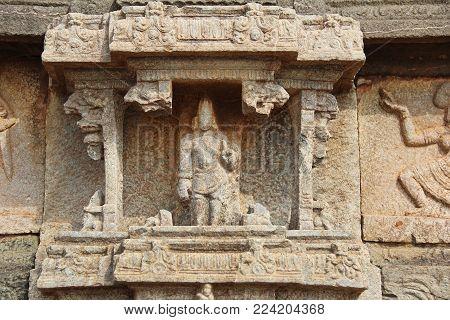 Bas-reliefs in Mahanavami Dibba - The Great Platform UNESCO World heritage site in Hampi, Karnataka, India.