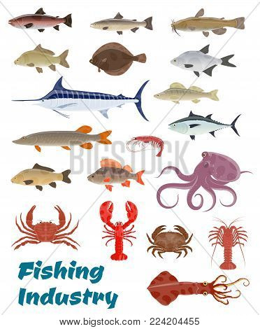 Fishing industry seafood and fresh fish catch icons. Vector set of sea food squid, turtle or tuna and shrimp, octopus or lobster crab and trout, ocean marlin or sardine and herring or oyster