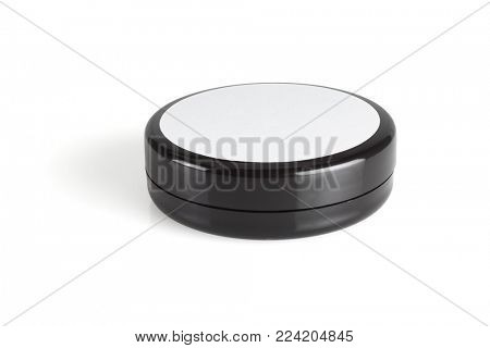 Black Plastic Hair Cream Container on White Background