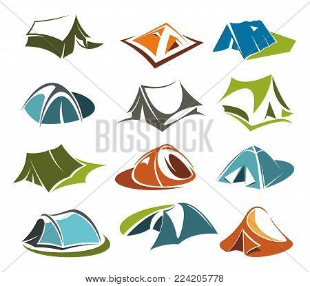 Camping tents or mountain outdoor adventure cabin icons for mountaineering or hiking sport and extreme nature explorer team club tourism. Vector isolated flat tent symbols for Alpine rock camping