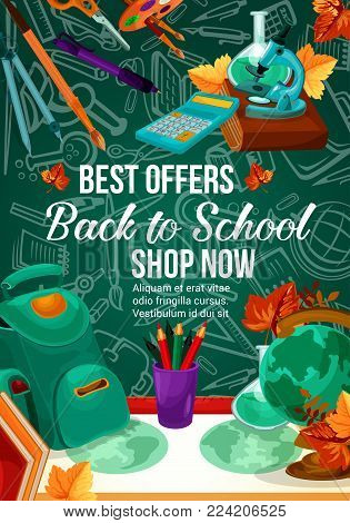 Back to School sale poster of school bag, globe or microscope and chemistry book pattern on green chalkboard. Vector stationery pencil, ruler or maple leaf for autumn seasonal school shopping promo