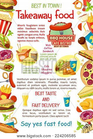 Fast food takeaway food restaurant or street food cafe poster design for fastfood bistro menu. Vector cheeseburger or hamburger and hot dog sausage sandwich, pizza and coffee or soda drinks