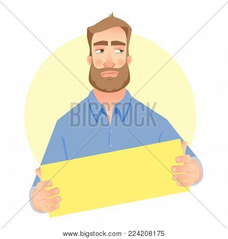 Man holding blank card. Businessman holding business card. Vector illustration