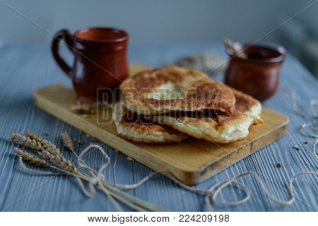 Homemade Fried Patties On Wooden Table