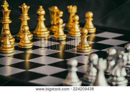 Strategy chess battle Intelligence challenge game on chessboard. Success the chess strategy concept. Chess business leader and success idea.