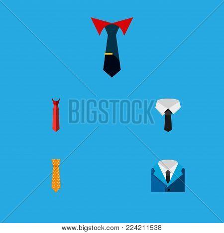 Icon flat necktie set of tie, shirt, cravat and other vector objects. Also includes necktie, cravat, collar elements.