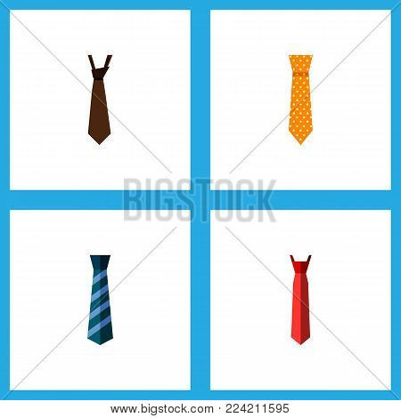Icon flat clothing set of textile, necktie, style and other vector objects. Also includes style, tie, formal elements.