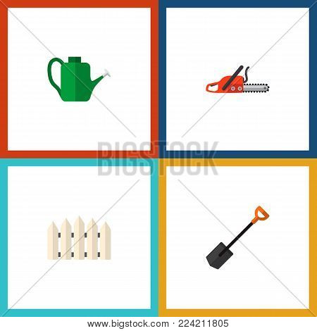 Icon flat dacha set of watering can, saw, shovel and other vector objects. Also includes barrier, shovel, spade elements.