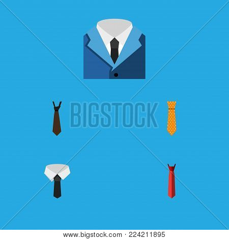 Icon flat clothing set of style, tie, suit and other vector objects. Also includes formal, style, collar elements.