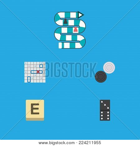 Icon flat games set of checkers, game, table game and other vector objects. Also includes game, play, chequer elements.