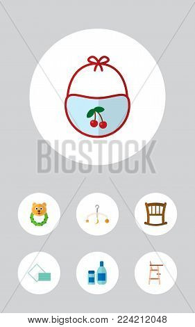 Icon flat child set of crib, cosmetics, stool and other vector objects. Also includes crib, cream, napkin elements.