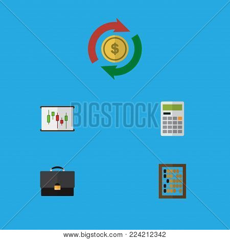 Icon flat finance set of abacus, calculator, briefcase and other vector objects. Also includes calculator, interchange, swap elements.