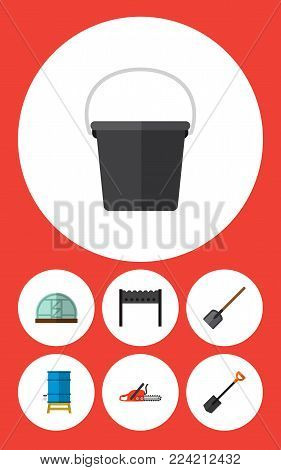 Icon flat dacha set of bucket, spade, brazier and other vector objects. Also includes shovel, container, tool elements.