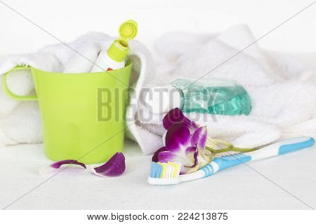 mouthwash toothbrush toothpaste for health care oral cavity on white