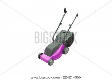 Red lawnmower isolated on a white background.
