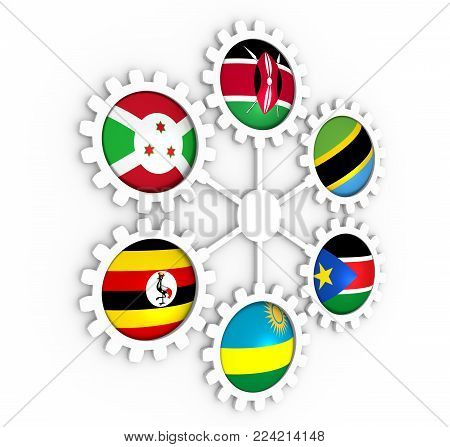 East African Community, EAC association of five national economies members flags on gear. Global teamwork. Blue background. 3D rendering poster