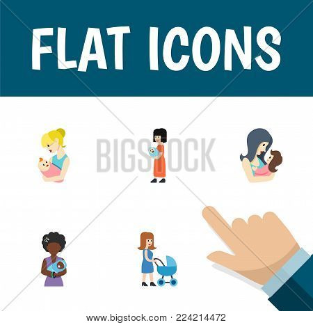 Icon flat parent set of mother, parent, newborn baby and other  objects. Also includes baby, mother, parent elements.