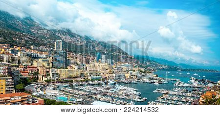 Panorama chic area of Monte-Carlo in the Principality of Monaco.