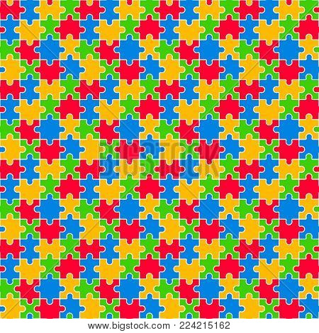 Colorful Jigsaw Seamless Pattern Vector Illustration Red Blue Yellow Green