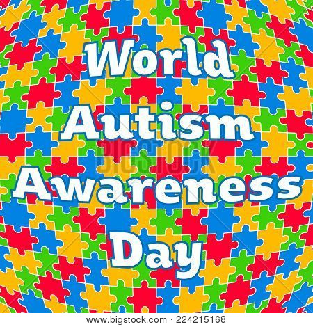 Colorful Jigsaw with Text World Autism Awareness Day Vector Illustration