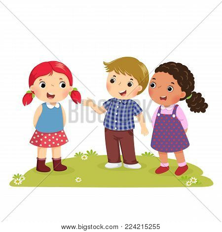 Illustration of a boy Introducing his friend to the girl