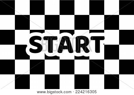 Flag auto racing, inscription start, flat icon. Symbol of start and finish of race cars on route. Vector illustration of chess canvas