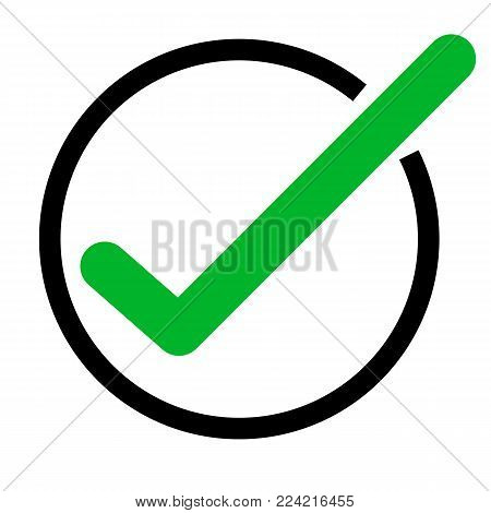 green tick icon on white background. green check mark icon. tick symbol. flat style. vector tick sign.