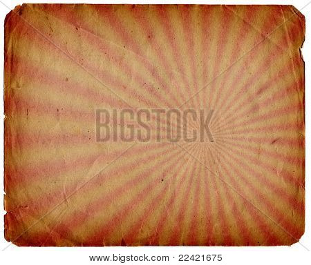grunge old paper texture background with radial rays isolated