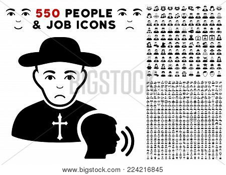 Unhappy Believer Confession icon with 550 bonus pity and happy jobs pictures. Vector illustration style is flat black iconic symbols.