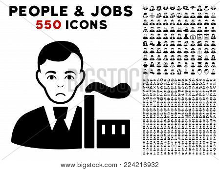 Pitiful Capitalist Oligarch pictograph with 550 bonus pitiful and happy men clip art. Vector illustration style is flat black iconic symbols.