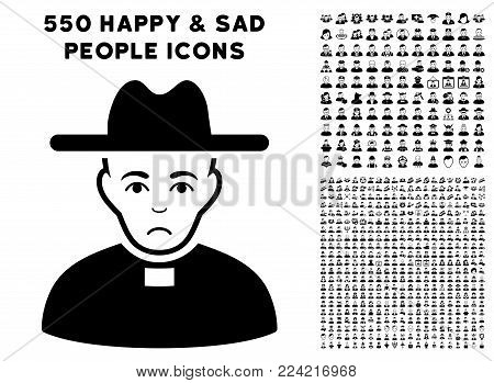 Pitiful Catholic Priest pictograph with 550 bonus pitiful and glad men clip art. Vector illustration style is flat black iconic symbols.