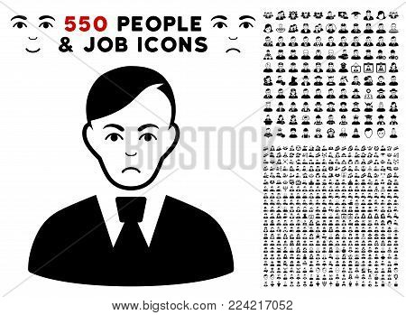 Pitiful Clerk icon with 550 bonus pitiful and glad jobs clip art. Vector illustration style is flat black iconic symbols.