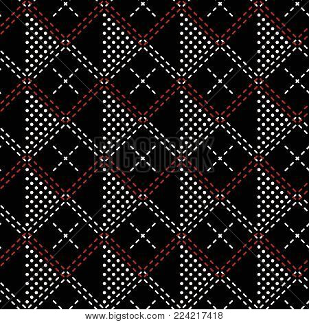 Seamless geometric pattern of dots and intersecting double dashed lines in black, white, red colors. Stylish textile vector print
