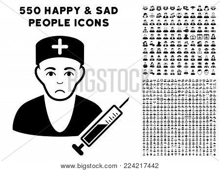 Pitiful Doctor pictograph with 550 bonus pity and glad men pictographs. Vector illustration style is flat black iconic symbols.